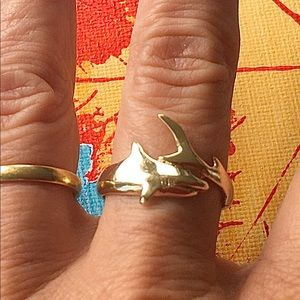 Shark solid 14K solid gold ring